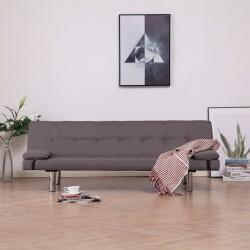 Szürkésbarna poliészter kanapéágy két párnával