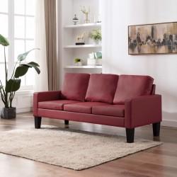 Háromszemélyes bordó műbőr kanapé