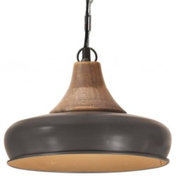 Szürke ipari vas és tömör fa függőlámpa 26 cm e27